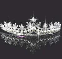 Wedding jewelry bridal crown hair accessory pearl rhinestones elegant hair wear free shipping 093