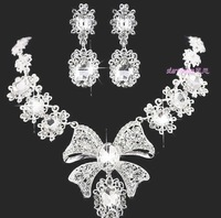 Bride accessories white big bow married necklace earrings women wedding sets luxury jewelry free shipping 022