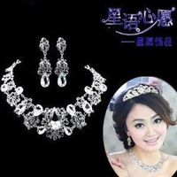 Fashion white butterfly crystal women necklace earrings set bridal wedding jewelry set free shipping 047