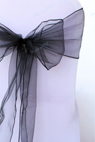 Black 100x Organza Chair Bow Cover Sashes wedding party  Decorations Gauze free shipping