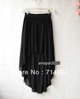 Women Sexy Asym Hem Chiffon Skirt High Low Asymmetrical Long Maxi  Elastic Waist Black skirt