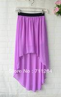 Purple Women Sexy Asym Hem Chiffon Skirt High Low Asymmetrical Long Maxi Elastic Waist skirt