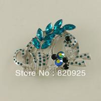 1 x Charming Blue Zircon Silver Tone Rhinestone Leaf Decor Pin Brooch