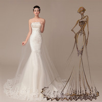 Free Shipping Real photo Factory direct sell Sexy Mermaid Luxury Strapless Lace Up Tulle Bridal Gown 2015 Wedding Dress