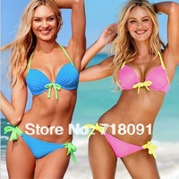 Free Shipping,Push Up,Knot And Colored Women Bikini,Sexy Beach Swim Wear,Swimsuits,Tankini Women Summer Beachwear,1 Set