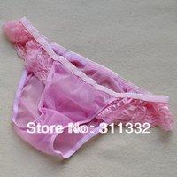 male low-waist sexy lace panties men's gauze transparent mesh briefs breathable ms080