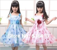 free shipping new baby girls dress children brand party wear 2014 hot selling fashion flower girl dress kids dess princess dress