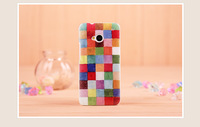Top Quality Coloured Drawing Colour Decoration Glossy Hard Back Case Cover For HTC One M7   Free shipping