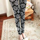 New Fashion knitting K-111 2014 spring leggings for women totem prints pencil pants wholesale and retail FREE SHIPPING(China (Mainland))