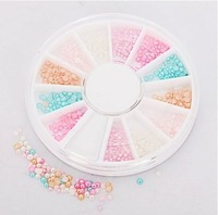 6 Colors Round Pearl Beads Nail Tools Art set  Rhinestones Tips Manicure 3D Decorations