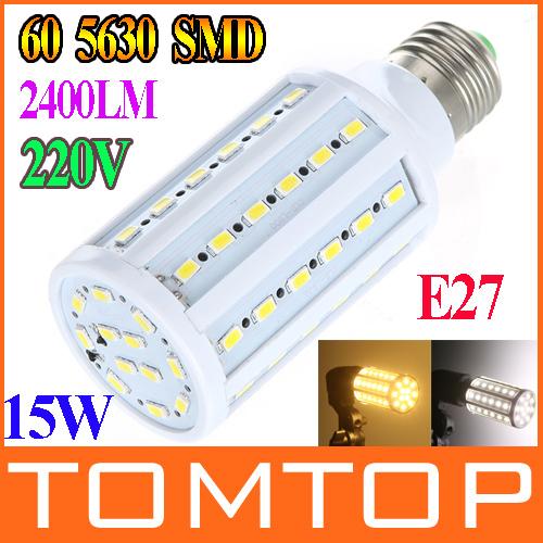 15W E27 60 5630 SMD 2400LM 360 degree LED Corn Bulb 220V Warm White / white High Luminous Efficiency led Light Lamp freeshipping