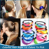 12 colors select 7pcs new Synthetic Fiber hairpeice Ponytail Elastic Hair Rope/Holers Fake Hair bands hair rings