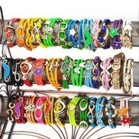 30X Wholesale Mixed Style Fuax Leather Chain Bracelet Cuff wrap Bangle Wristband