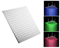 """20"""" inches led lighted stainless steel square rain shower"""