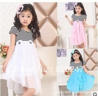 2013 Free Shipping Children Summer dress  girl new striped chiffon dress  kid  fashion chiffon dress 3 colors  K12