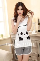 Summer lovers lounge set  women's sleepwear shorts personality casual cartoon panda vest