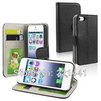 Card Holder Purse Wallet Leather Case For iPhone 5 5G Flip Stand Cover 5 Colors Black White Pink Blue Brown 10pcs/lot