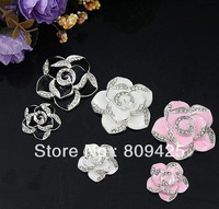 Free shipping! popular Camellias alloy flatback DIY phone decoration 6pcs/lot DY579 min order $15 mix order
