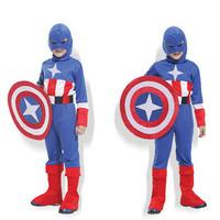 Vestidos Pelicula Halloween coslplay costume for children the The Avengers Captain America costume full set and fabric shields