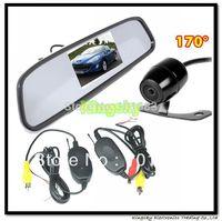 "Car Rear View Kit 4 3"" Mirror Monitor + 2.4 GHz Wireless Waterproof Reverse Car Backup Camera 170 degree"