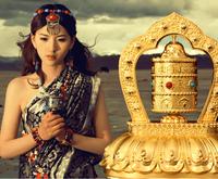 Cheap car solar prayer wheel turn golden barrel turn Kingland automotive interior ornaments Buddhist prayer wheel vehicle