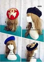 New Fashion beautyful 4Color black red blue gray channel Wool Warm Women Beret Beanie Hat Cap winter hats for women