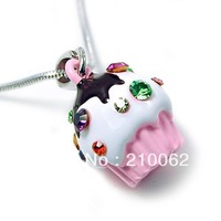 Min.order is $15 (mixed order) Free shipping  Cupcake necklace jewelry CJ98 pink Xmas Candy Gilrls Gift + Organza bags