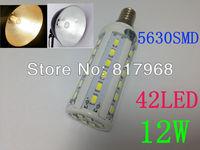 Free Shipping 12W E14 42 LED SMD LED BULB 5630 Warm White cool white 110V or 220V AC