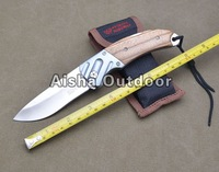 BODA Zebrano Wood Handle 440C Blade Folding Knife Outdoor Camping Knife With Nylon Sheath Free Shipping