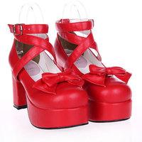 WA ! Women's shoes lolita female shoes bow princess shoes high heeled dress shoes red 9812 japanned leather BIG SIZE 10  EU 42