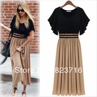Free Shopping Luxury Honourable Plus Size One-piece Dress Women's High-grade Chiffon Dress--No Matter How Fat You Are