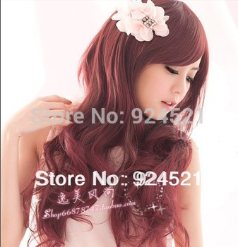 big wave female elegant wig Fashion synthetic hair wigs Long curly Big wave Wine red Black, Dark and Light brown