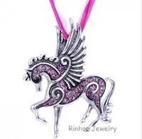 Fashion Mix Color  Pegasus Horse Rhinestone Pendant Necklace Sweater Chain  Silver Plated  Jewelry