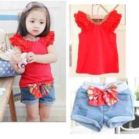 Hot 2 Colors Girls Kids Ruffled Sleeves T-shirt+ Bow-knot cotton Pants 1-6Y 2 PCS Set Outfits XL066 drop freeshipping