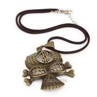 4pcs New style Retro Bronze the dollar skull Pendant 6*5.4cm Flocking necklace charms 61789