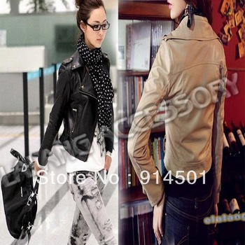 Good Quality 1pc/lot Fashion Lapel Rivets Faux Leather Zipper Biker Motorcycle Jacket Coat For Lady&Women 652180
