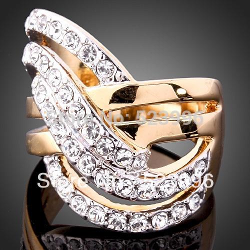 New 2014 Europe and America Jewelry Retro Fashion 24K Gold Plated Rhinestone Rings Wedding Ring Set Free Shipping J00146(China (Mainland))
