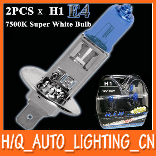 New 2pcs x H1 HID Xenon Halogen Lamp Super White Car Headlight Bulb 7500K 12V55W E4 Free Shipping(China (Mainland))