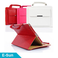 Hot selling 9.7' handbag Leather Case Smart Cover Stand Case  for iPad4 iPad3 iPad2  Free Shipping