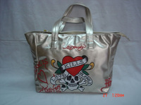 ED hardy Human Skeleton handbags Women Color totes bag yellow red purple