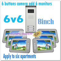 "Multi-unit 8"" color video intercom systems/Video door phones for 6 apartments/villas (6 keys camera add 6 monitors) Drop ship"