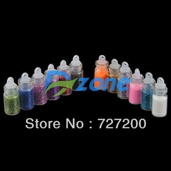 30Sets/lot 12 Color Glitter Decor Nail Art Powder Dust Bottle Set  #5696