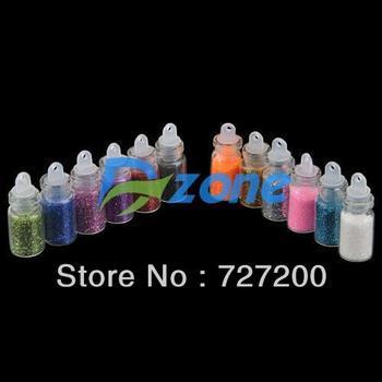 1Sets/lot 12 Color Glitter Decor Nail Art Powder Dust Bottle Set #5696