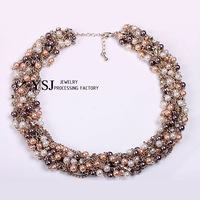 YSJ--New unique design pure handmade pearl nice necklace, Free Shipping. Hot nice necklaces