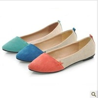 New!! 2013 women block color decoration flats shoes pointed toe flat gommini loafers female flat heel single shoes