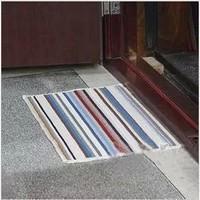 Rainbow yarn stripe non-slip mat porch bathroom water absorption mat kitchen door mat
