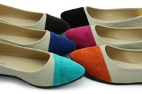 2014 New Women Spring Autumn Pointed Toe Slip on Rubber PU Casual Comfort Ballet Patchwork Low Heels Flats Loafers Ladies shoes