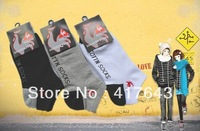 Factory whole sale retail fashion Men cotton sport socks, white black gray men socking High quality  Men clothes Freeship MS010