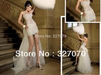 2014 New Free Shipping Wedding Flowers Hollow Transparent Sexy Beaded Wedding Shoot  Formal Cheap Wedding Dresses