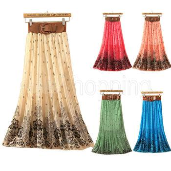 Женская повседневная юбка из шифона, средней длинны и стильным ремешком.